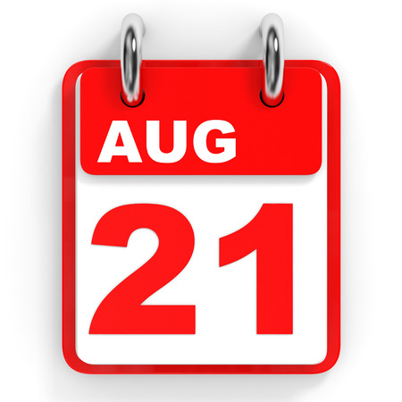 21: Calendar on white background. 21 August. 3D illustration. Stock Photo