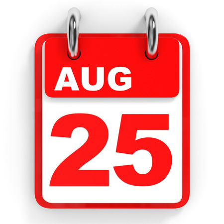 twenty fifth: Calendar on white background. 25 August. 3D illustration.