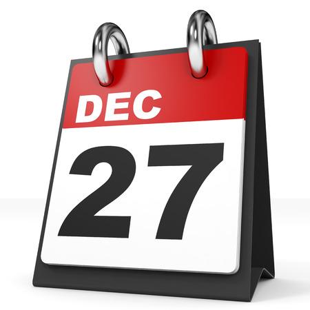 27: Calendar on white background. 27 December. 3D illustration.