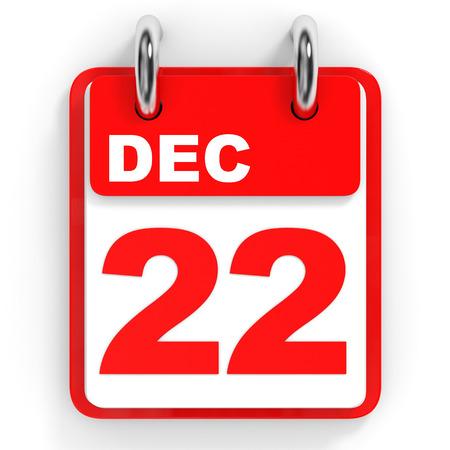 december: Calendar on white background. 22 December. 3D illustration.