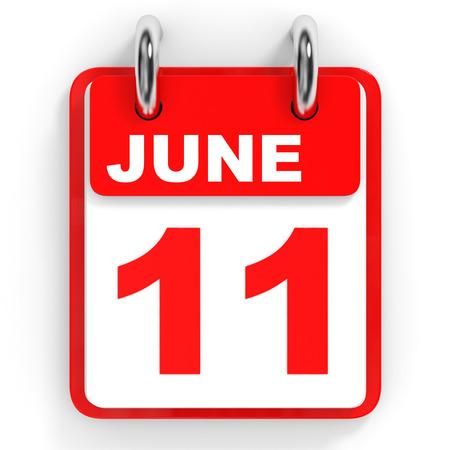 eleventh: Calendar on white background. 11 June. 3D illustration.