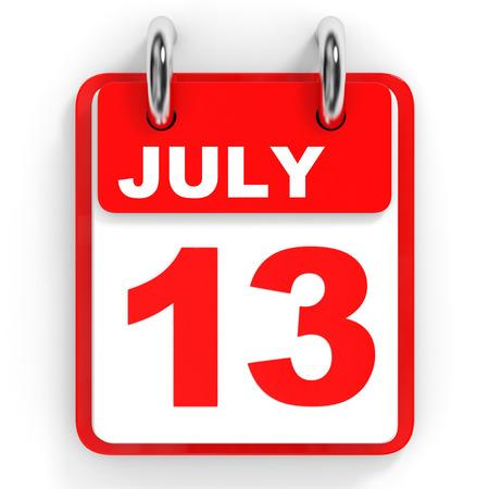 13th: Calendar on white background. 13 July. 3D illustration. Stock Photo
