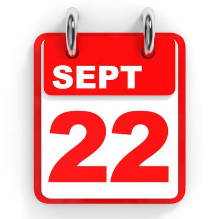 2 months: Calendar on white background. 22 September. 3D illustration.