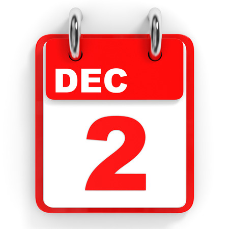 december: Calendar on white background. 2 December. 3D illustration.