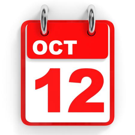 october: Calendar on white background. 12 October. 3D illustration.