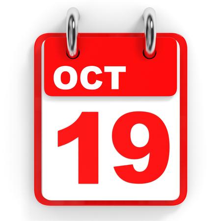 19: Calendar on white background. 19 October. 3D illustration. Stock Photo
