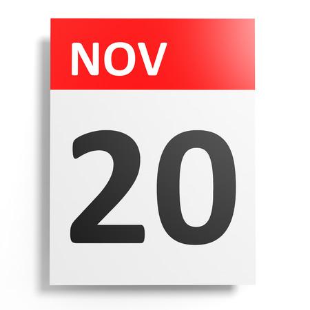 20: Calendar on white background. 20 November. 3D illustration.