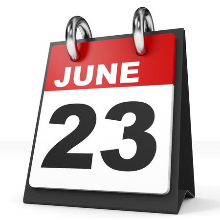 twenty second: Calendar on white background. 23 June. 3D illustration.
