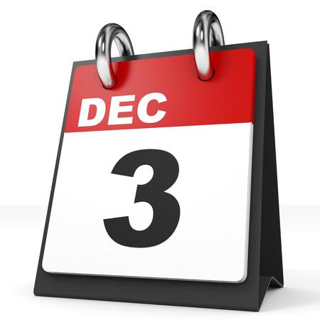 december: Calendar on white background. 3 December. 3D illustration. Stock Photo