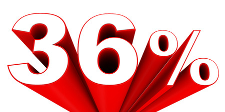 36 6: Discount 36 percent off sale. 3D illustration. Stock Photo