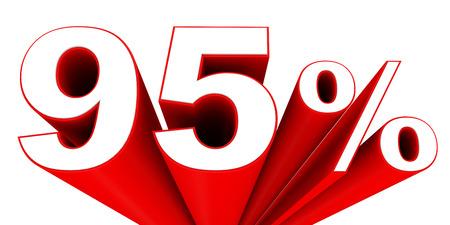 95: Discount 95 percent off sale. 3D illustration.