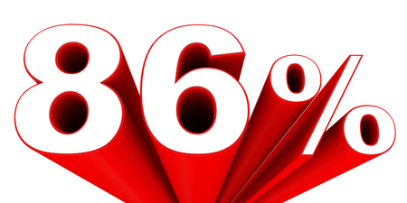 eighty: Discount 86 percent off sale. 3D illustration.
