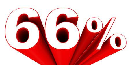 66: Discount 66 percent off sale. 3D illustration.