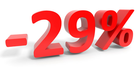 29: Discount 29 percent off sale. 3D illustration.
