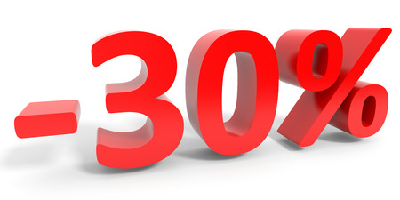 the 30: Discount 30 percent off sale. 3D illustration.