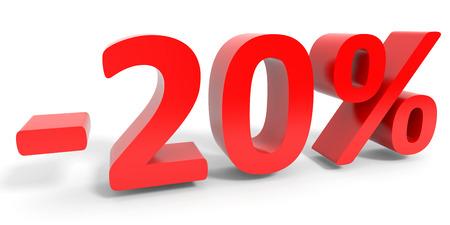Discount 20 percent off sale. 3D illustration. Stock Photo
