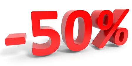 Discount 50 percent off sale. 3D illustration.