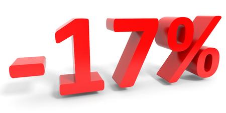 17: Discount 17 percent off sale. 3D illustration. Stock Photo