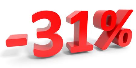 31: Discount 31 percent off sale. 3D illustration.
