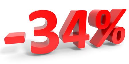34: Discount 34 percent off sale. 3D illustration.