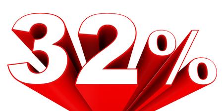 32: Discount 32 percent off sale. 3D illustration. Stock Photo