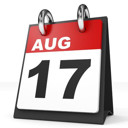 17: Calendar on white background. 17 August. 3D illustration. Stock Photo
