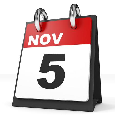 november 3d: Calendar on white background. 5 November. 3D illustration.