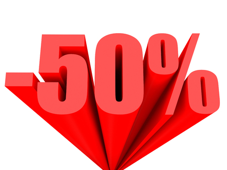 Discount 50 percent off sale. 3D illustration.
