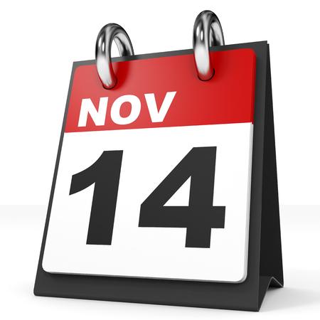 november 3d: Calendar on white background. 14 November. 3D illustration.