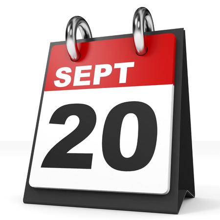 september: Calendar on white background. 20 September. 3D illustration. Stock Photo