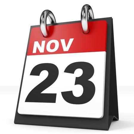 2 november: Calendar on white background. 23 November. 3D illustration.