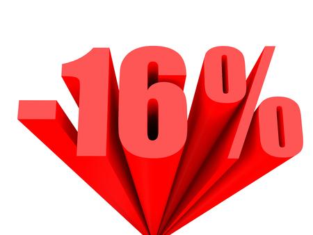 number 16: Discount 16 percent off sale. 3D illustration.