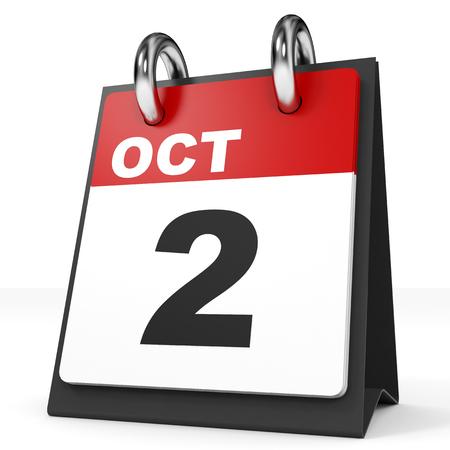 2 months: Calendar on white background. 2 October. 3D illustration.