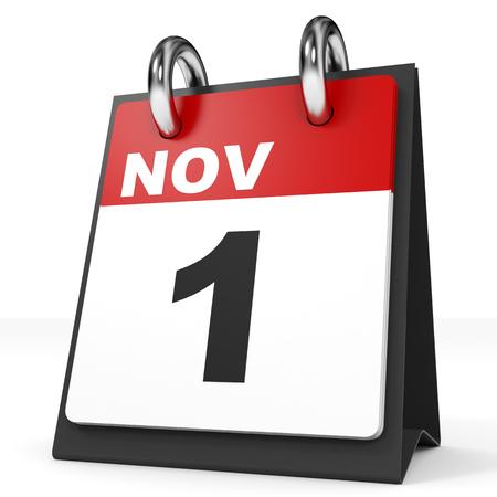 november 3d: Calendar on white background. 1 November. 3D illustration.