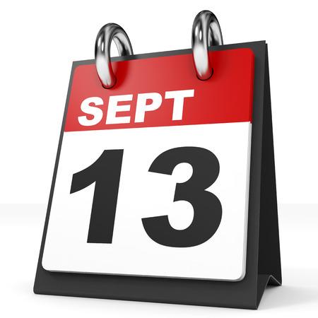 13: Calendar on white background. 13 September. 3D illustration.