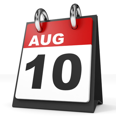 august: Calendar on white background. 10 August. 3D illustration.