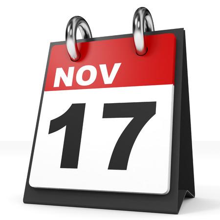 november 3d: Calendar on white background. 17 November. 3D illustration.