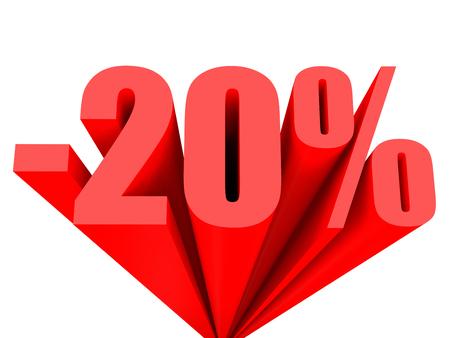 Discount 20 percent off sale. 3D illustration. 版權商用圖片