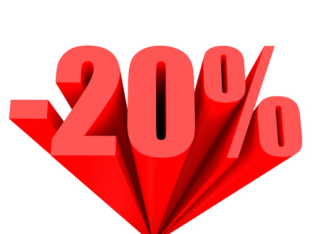 20: Discount 20 percent off sale. 3D illustration. Stock Photo