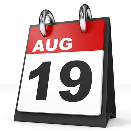 19: Calendar on white background. 19 August. 3D illustration.