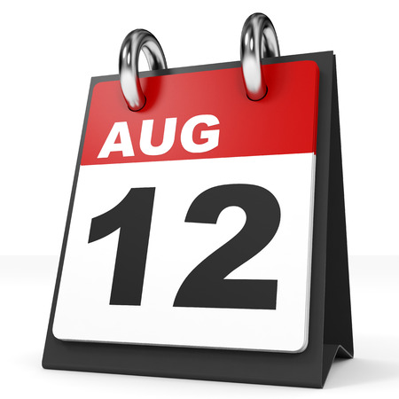 a 12: Calendar on white background. 12 August. 3D illustration. Stock Photo
