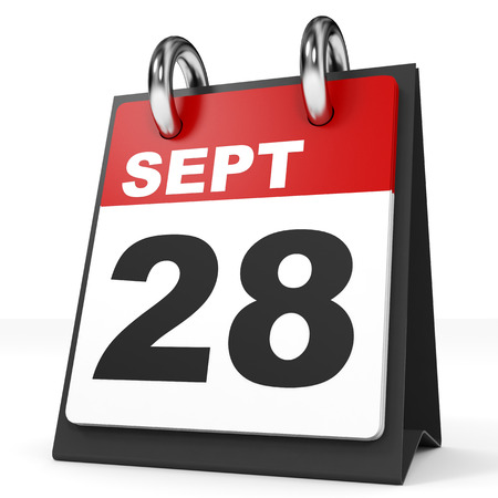 Calendar on white background. 28 September. 3D illustration.