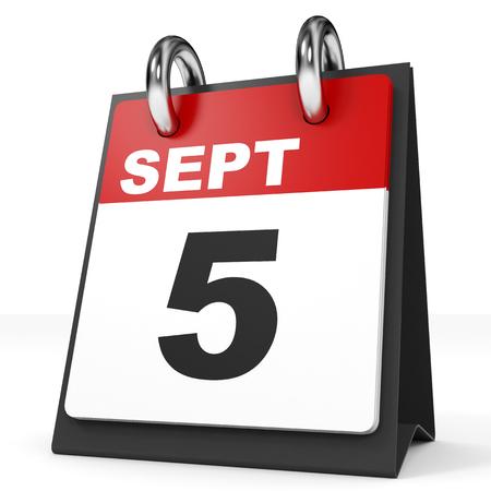 5th: Calendar on white background. 5 September. 3D illustration. Stock Photo