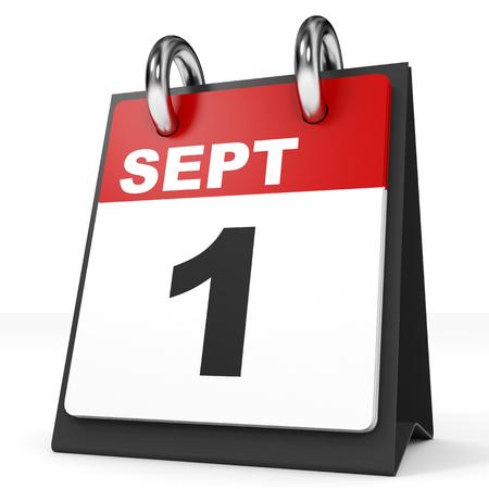 september 1: Calendar on white background. 1 September. 3D illustration.