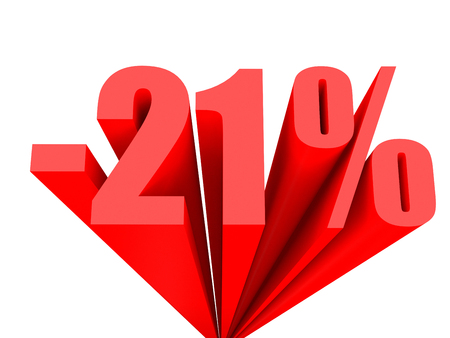 21: Discount 21 percent off sale. 3D illustration. Stock Photo
