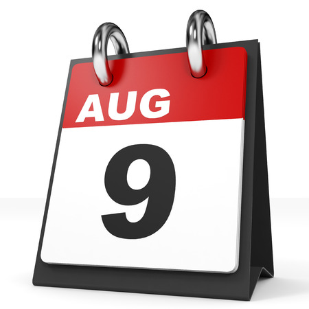 august: Calendar on white background. 9 August. 3D illustration.
