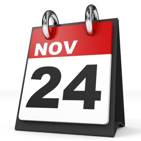 november 3d: Calendar on white background. 24 November. 3D illustration.