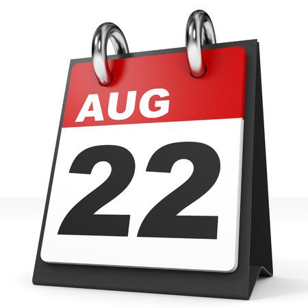 twenty second: Calendar on white background. 22 August. 3D illustration. Stock Photo