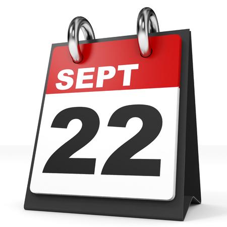 september: Calendar on white background. 22 September. 3D illustration.