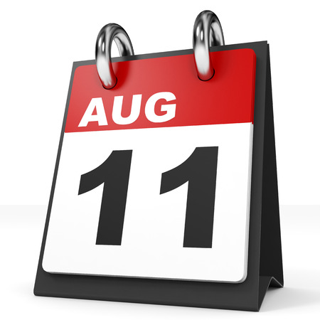 number 11: Calendar on white background. 11 August. 3D illustration.